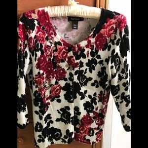 WHBM Dark red, black and cream floral sweater.